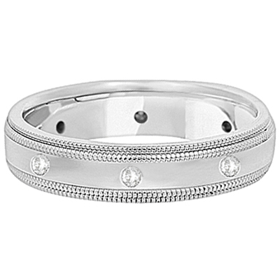Mens Engraved Diamond Wedding Ring Band Palladium (0.15ct)