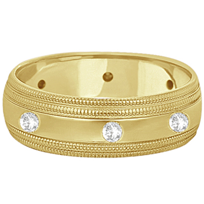 Mens Engraved Diamond Wedding Ring Wide Band 14k Yellow Gold (0.35ct)