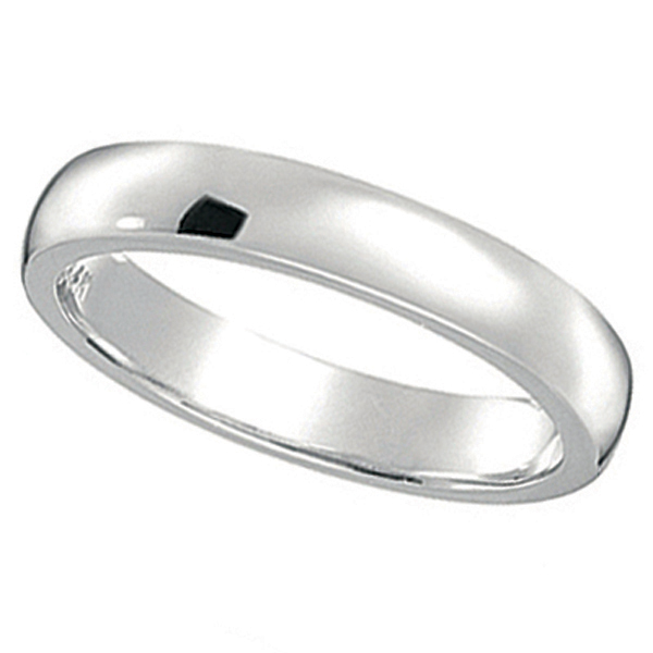 Dome Comfort Fit Wedding Ring Band 18k White Gold (2mm)