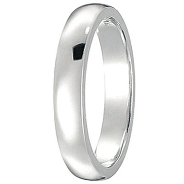 Dome Comfort Fit Wedding Ring Band 14k White Gold (3mm)