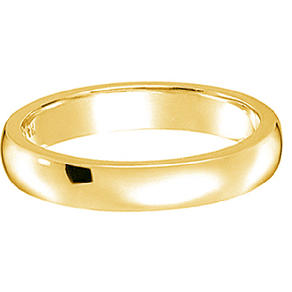 Dome Comfort Fit Wedding Ring Band 14k Yellow Gold (3mm)