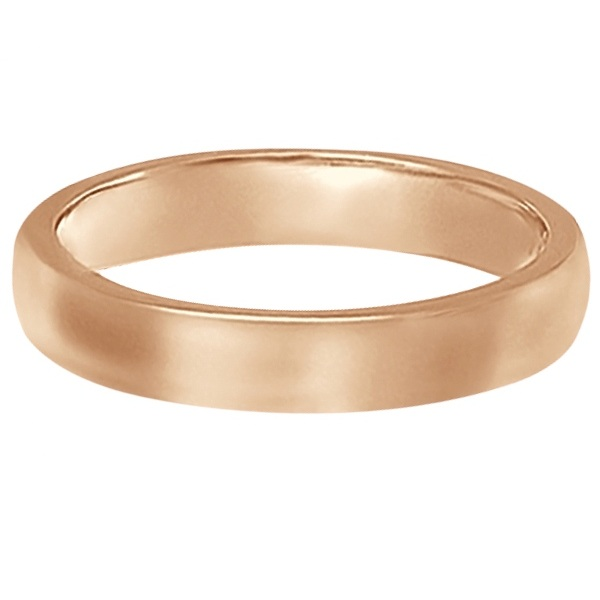 Dome Comfort Fit Wedding Ring Band 18k Rose Gold (3mm)