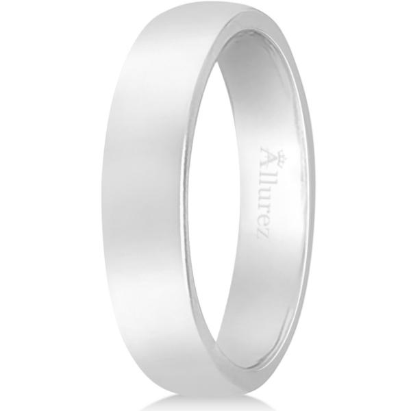 Dome Comfort Fit Wedding Ring Band 18k White Gold (4mm)