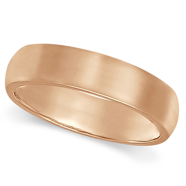 Dome Comfort Fit Wedding Ring Band 18k Rose Gold (5mm)