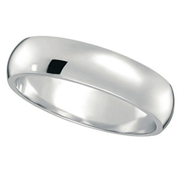 Dome Comfort Fit Wedding Ring Band 18k White Gold (5mm)