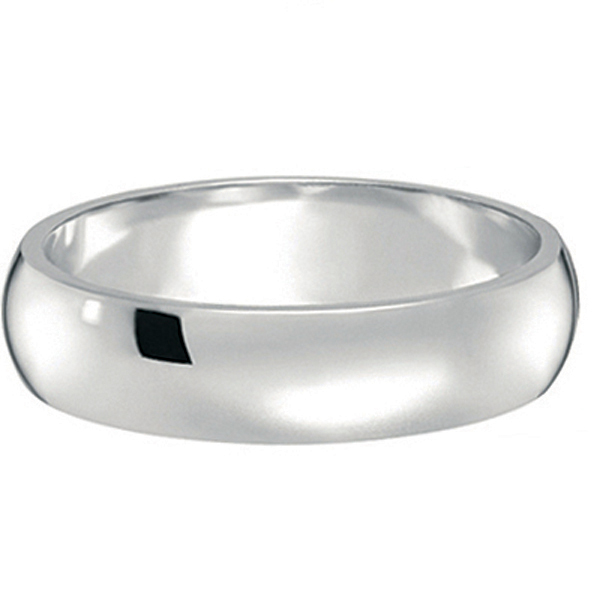 Dome Comfort Fit Wedding Ring Band Palladium (5mm)