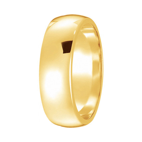 Dome Comfort Fit Wedding Ring Band 18k Yellow Gold (6mm)