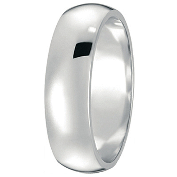 Dome Comfort Fit Wedding Ring Band Palladium (6mm)