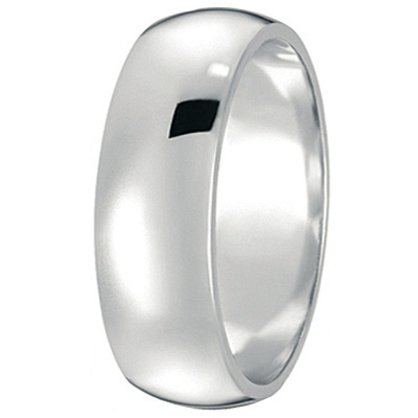 Dome Comfort Fit Wedding Ring Band 14k White Gold (7mm)