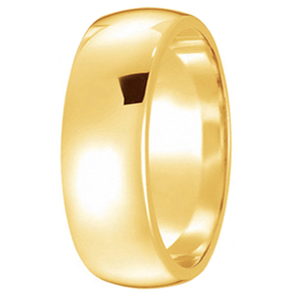 Dome Comfort Fit Wedding Ring Band 14k Yellow Gold (7mm)