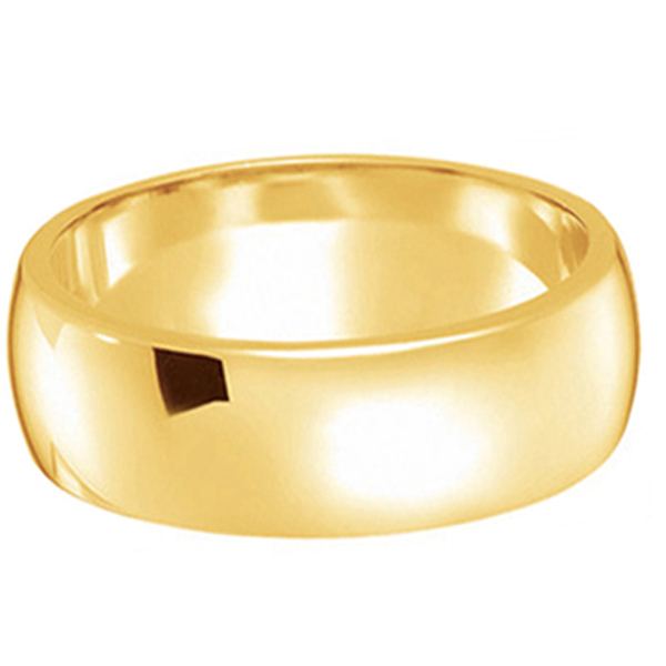 Dome Comfort Fit Wedding Ring Band 18k Yellow Gold (7mm)