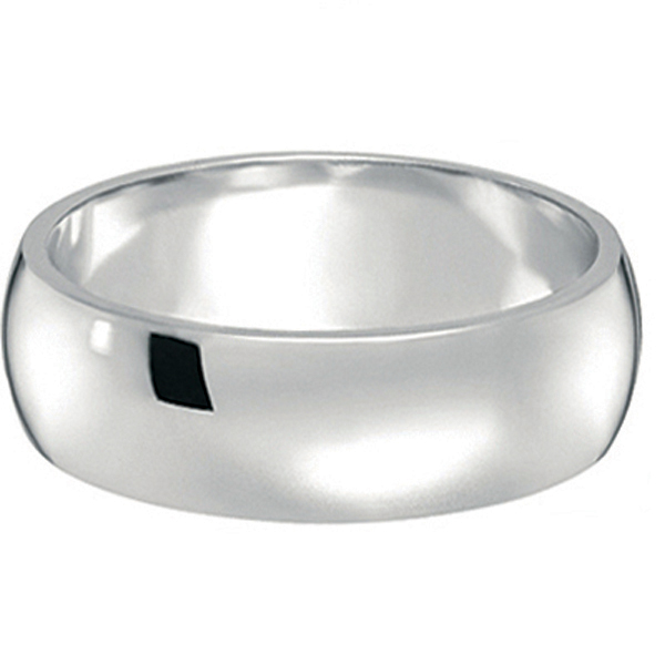 Dome Comfort Fit Wedding Ring Band Palladium (7mm)