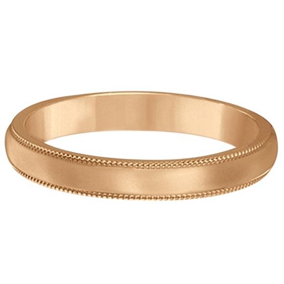 14k Rose Gold Wedding Band Dome Comfort-Fit Milgrain (3mm)