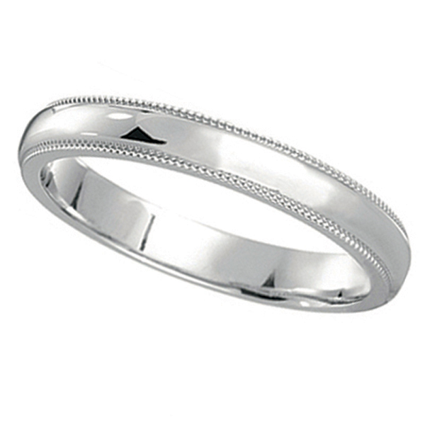 14k White Gold Wedding Band Dome Comfort Fit Miligrain 3mm Allurez