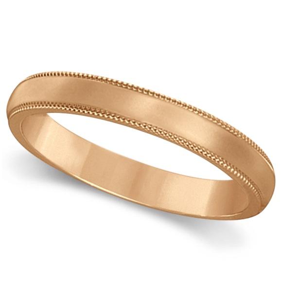 18k Rose Gold Wedding Band Dome Comfort-Fit Milgrain (3mm)