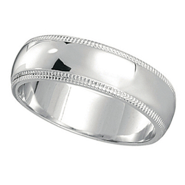 Men's Wedding Band Dome Comfort-Fit Miligrain 14k White Gold (5 mm)