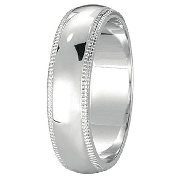 Men's Wedding Band Dome Comfort-Fit Miligrain 14k White Gold (5 mm)