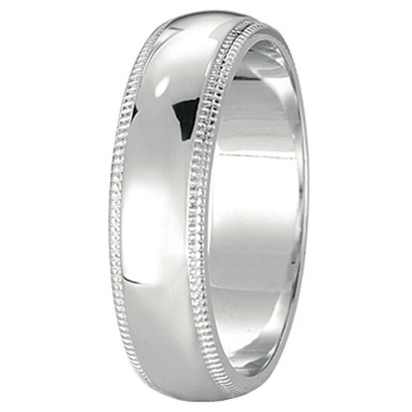 Men's Wedding Band Dome Comfort-Fit Milgrain 950 Palladium (5 mm)