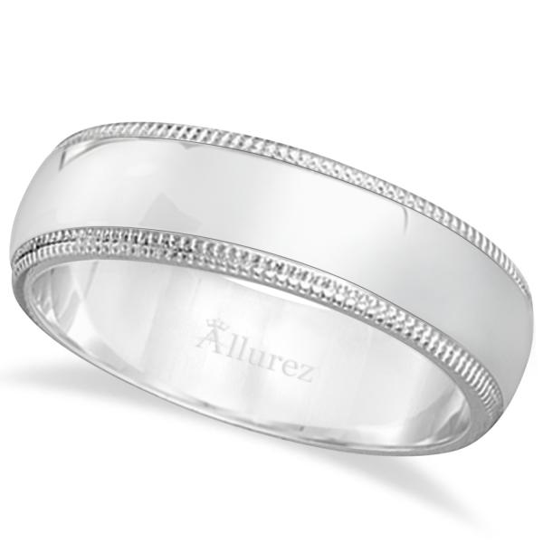 Men's Wedding Band Dome Comfort-Fit Miligrain 14k White Gold (6 mm)