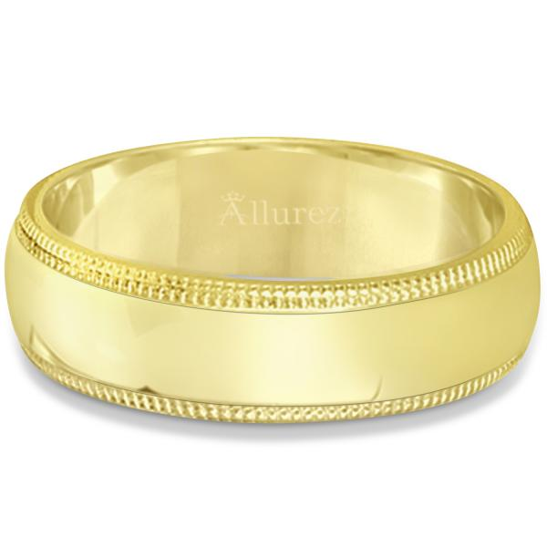 Men's Wedding Band Dome Comfort-Fit Milgrain 14k Yellow Gold (6 mm)