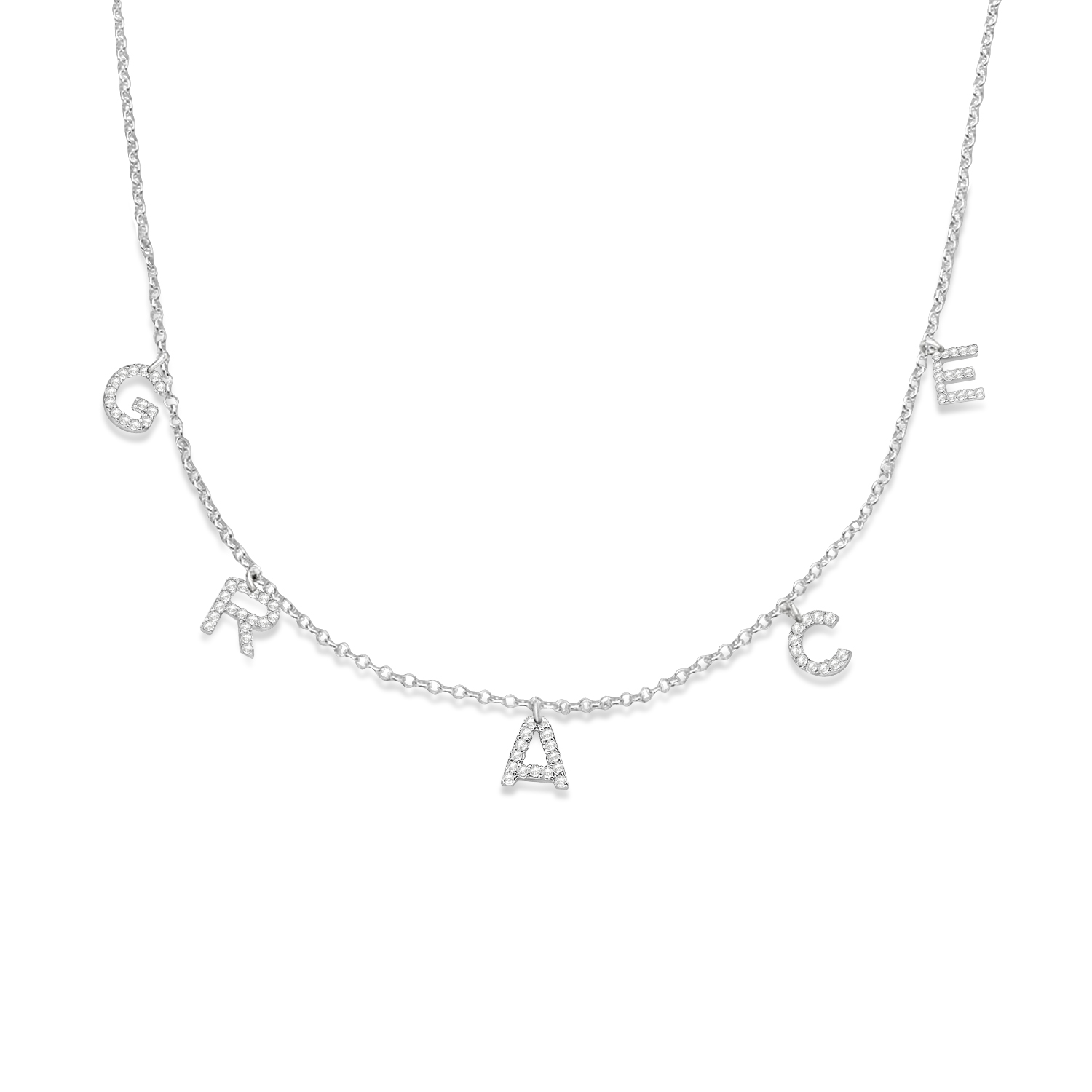 Petite Pave Diamond Multi Initial Pendant Necklace 14k White Gold