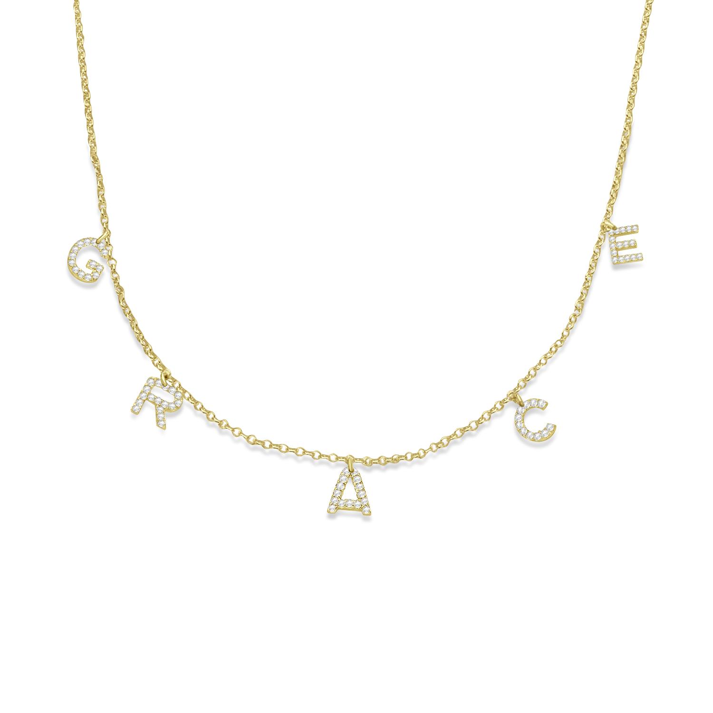 Petite Pave Diamond Multi Initial Pendant Necklace 14k Yellow Gold