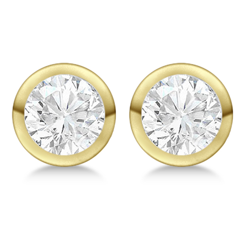 Round Diamond Stud Earrings Bezel Setting In 14K Yellow Gold