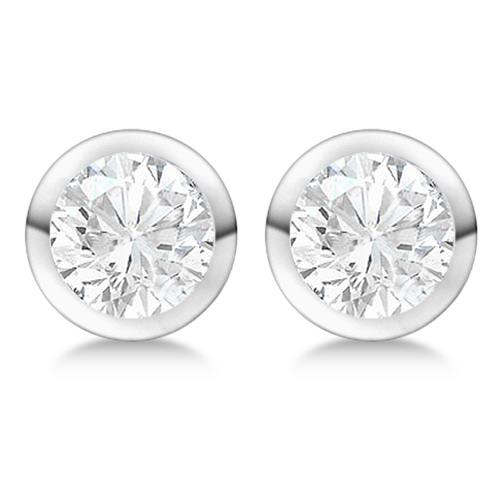 Round Diamond Stud Earrings Bezel Setting In 18K White Gold