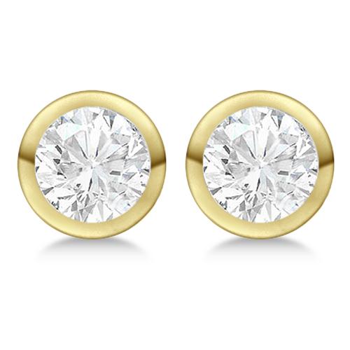 Round Diamond Stud Earrings Bezel Setting In 18K Yellow Gold
