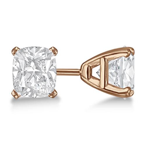 Cushion Diamond Stud Earrings Basket Setting In 14K Rose Gold