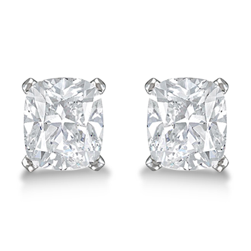 Cushion Diamond Stud Earrings Basket Setting In 14K White Gold