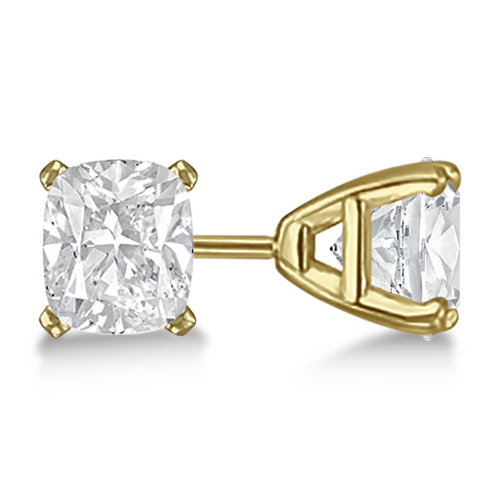 Cushion Diamond Stud Earrings Basket Setting In 14K Yellow Gold