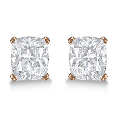 Cushion Diamond Stud Earrings Basket Setting In 18K Rose Gold