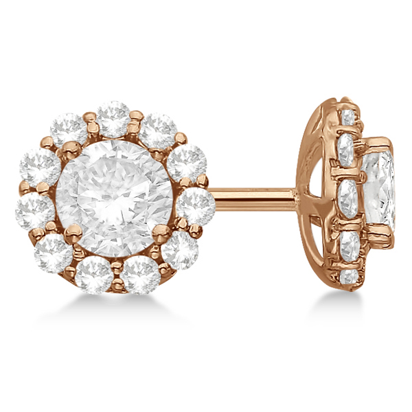 Round Diamond Stud Earrings Halo Setting In 18K Rose Gold