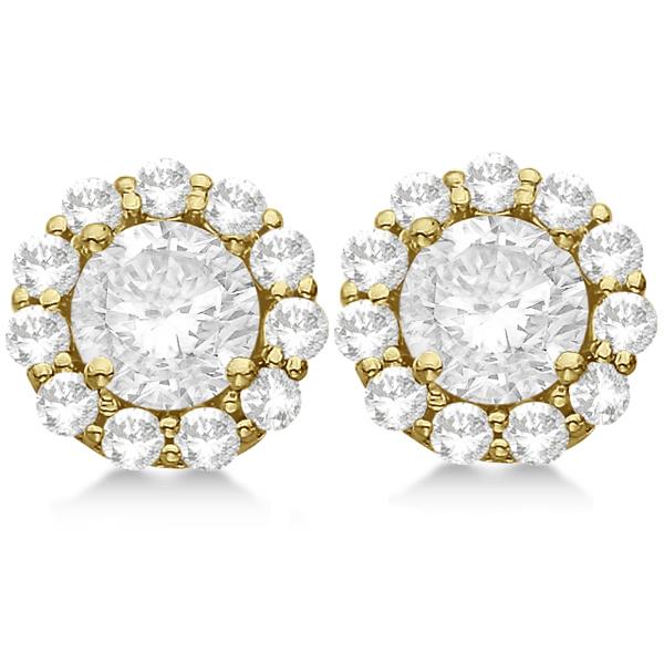 Round Diamond Stud Earrings Halo Setting In 18K Yellow Gold
