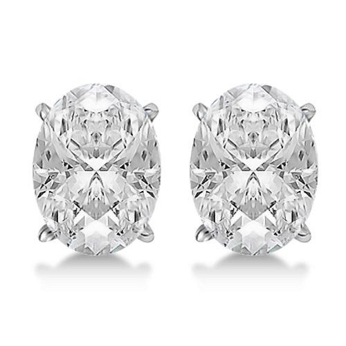 Oval Diamond Stud Earrings 4-Prong Basket Setting In 18K White Gold
