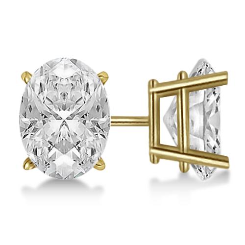 Oval Diamond Stud Earrings 4-Prong Basket Setting In 18K Yellow Gold