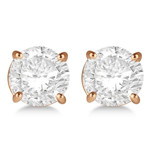 Round Diamond Stud Earrings 4-Prong Basket Setting In 14K Rose Gold