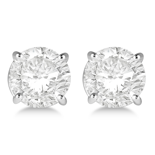 Round Diamond Stud Earrings 4-Prong Basket Setting In 14K White Gold