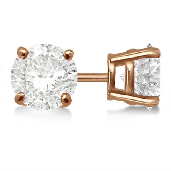 Round Diamond Stud Earrings 4-Prong Basket Setting In 18K Rose Gold