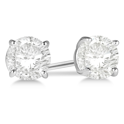 Round Diamond Stud Earrings 4-Prong Basket Setting In 18K White Gold