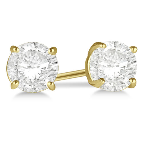 Round Diamond Stud Earrings 4-Prong Basket Setting In 18K Yellow Gold