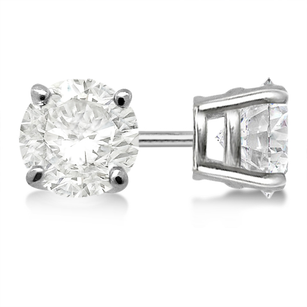 Round Diamond Stud Earrings 4 Prong Basket Setting In