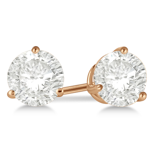 Round Diamond Stud Earrings 3-Prong Martini Setting In 18K Rose Gold