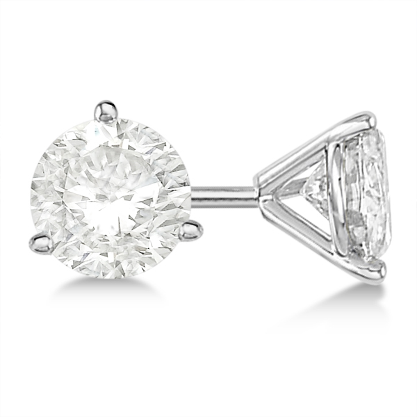 Round Diamond Stud Earrings 3-Prong Martini Setting In 18K White Gold