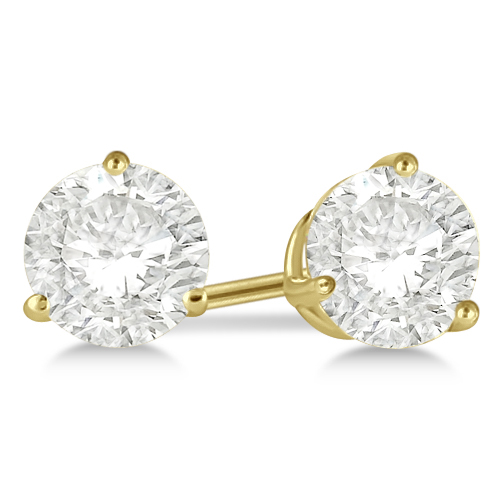 Round Diamond Stud Earrings 3-Prong Martini Setting In 18K Yellow Gold