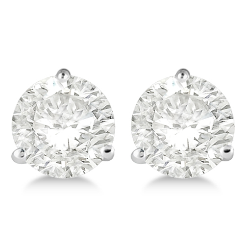 Round Diamond Stud Earrings 3-Prong Martini Setting In Palladium
