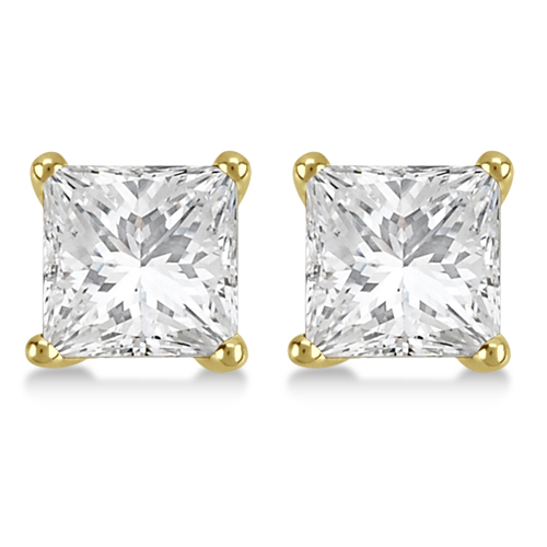 Square Diamond Stud Earrings Basket Setting In 14K Yellow Gold