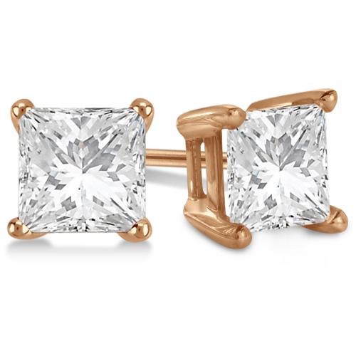 Square Diamond Stud Earrings Basket Setting In 18K Rose Gold