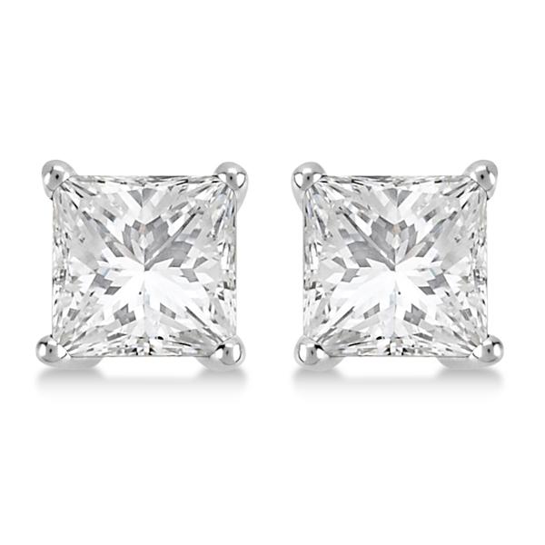 Square Diamond Stud Earrings Basket Setting In 18K White Gold